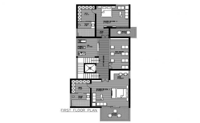 Two Bedrooms First Floor Plan With Furniture Design DWG