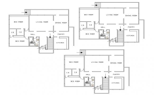 Two Bhk House Floor Plan CAD Drawing