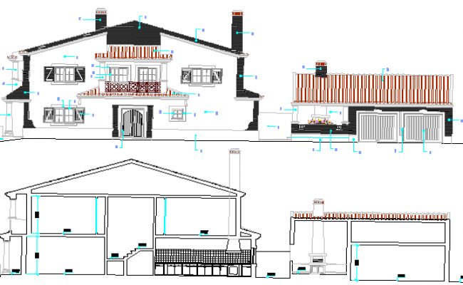 Two Flooring Bungalow Design and Elevation dwg file