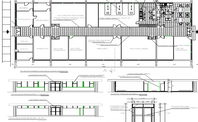 Two Flooring Office Elevation and Structure Details dwg file