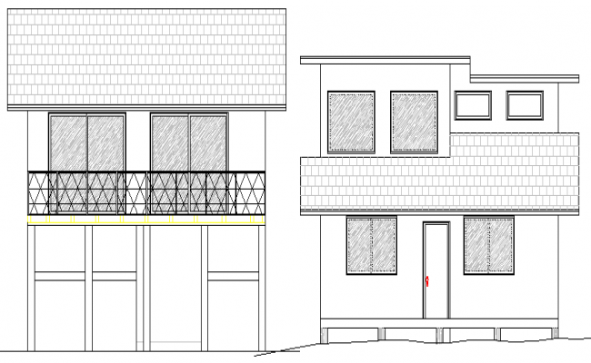 Two Flooring Residential Bungalow Design and Elevation dwg file