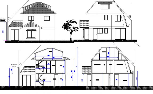 Two Flooring Residential House Design and Elevation dwg file