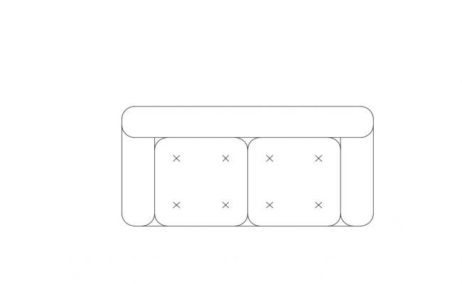 Two Seater Modern Sofa Cad Block Free Download
