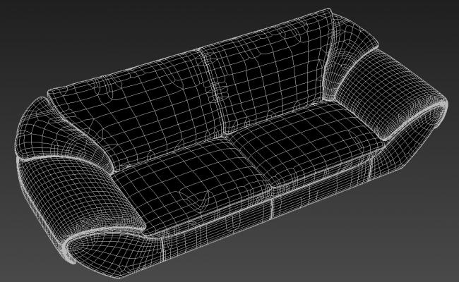 Two Seater Sofa With Heavy Handrest Rendered Drawing  3D Model