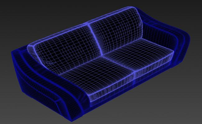Two Seater Sofa With Rectangle Shape Rendered Drawing  3D Model