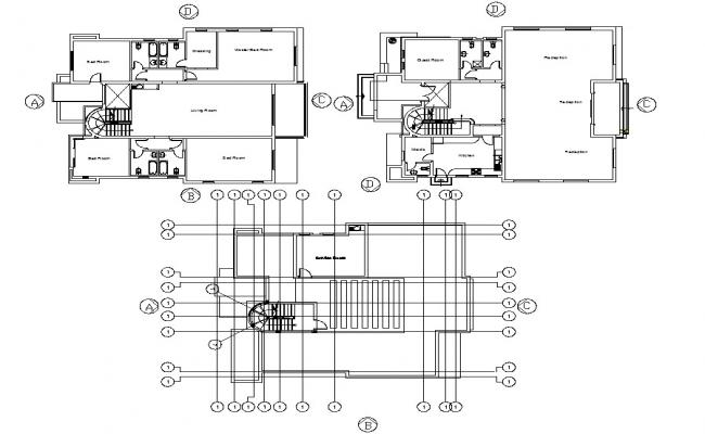 Two Storey House CAD drawing download