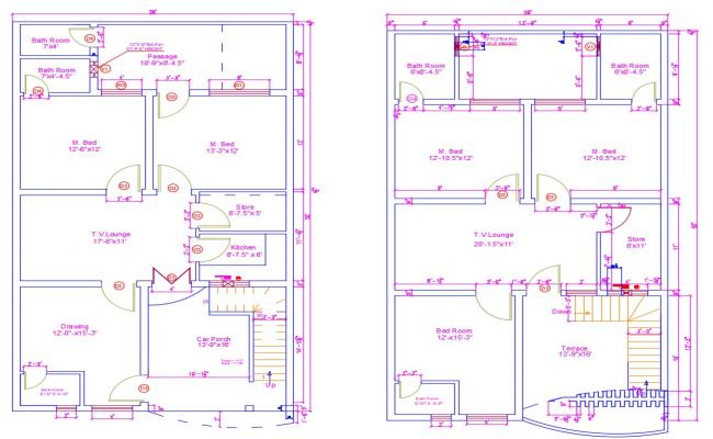 Two Storey House DWG File