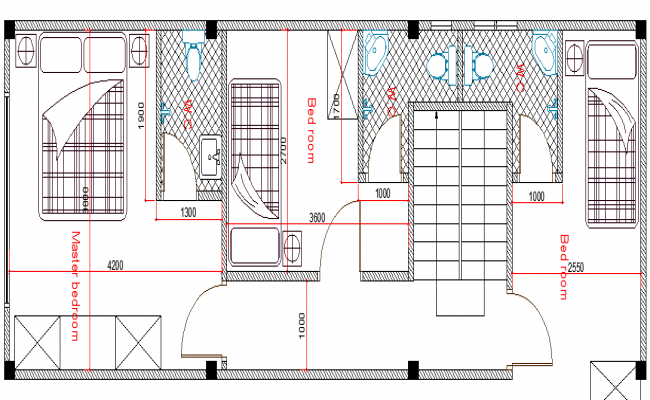Two Story Residential Flats Elevation Design dwg file