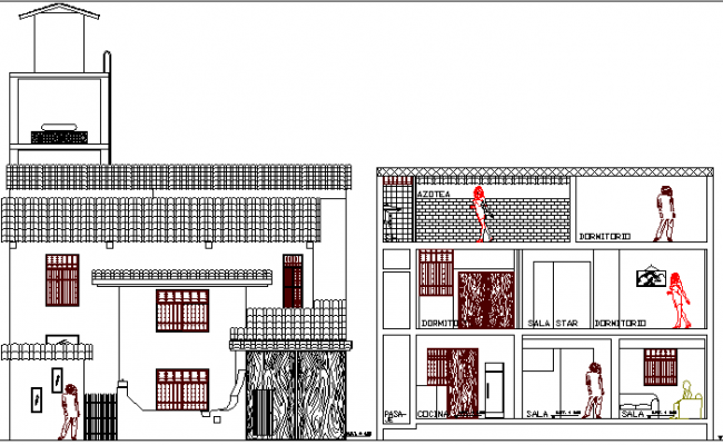 Two Story Single Family Bungalow Design and Elevation dwg file