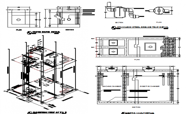 Two flooring house architecture project details dwg file