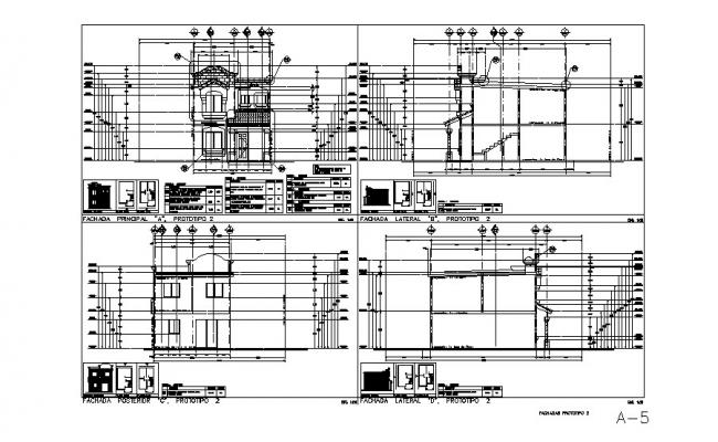 Two-flooring house elevation and constructive sectional details dwg file
