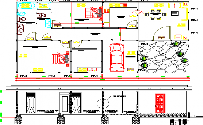 Two flooring house section and structure details dwg file