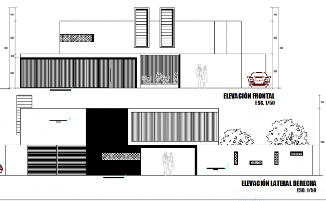 Two flooring housing front and back elevation dwg file