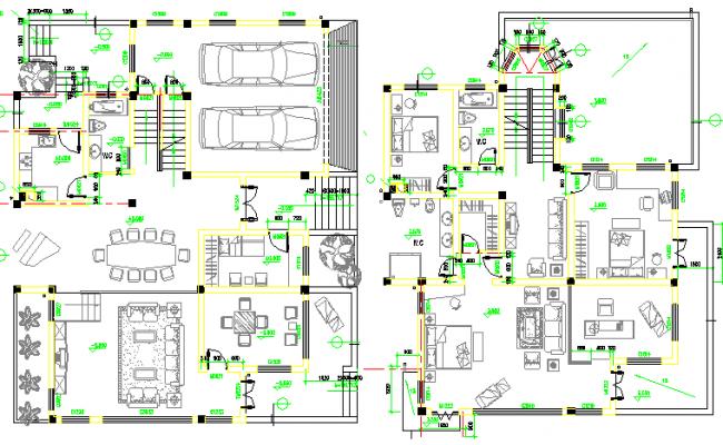 Two flooring multi-family bungalow floor plan details dwg file