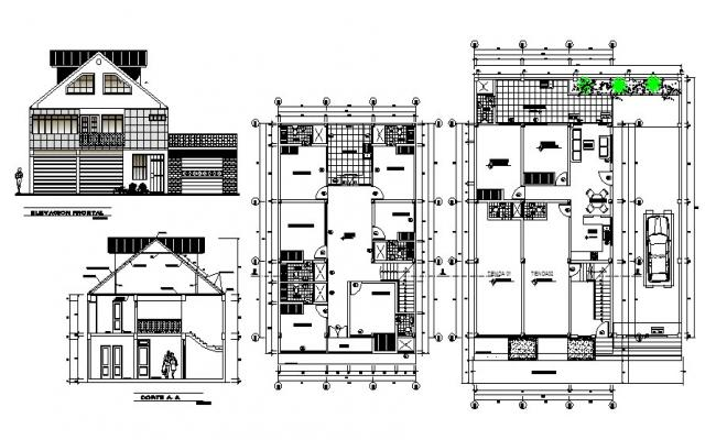Two-flooring one family house detailed architecture project dwg file