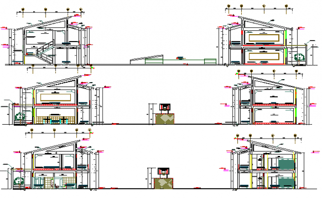 Two flooring school full sectional details dwg file