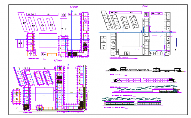 Two flooring selva college architecture project dwg file