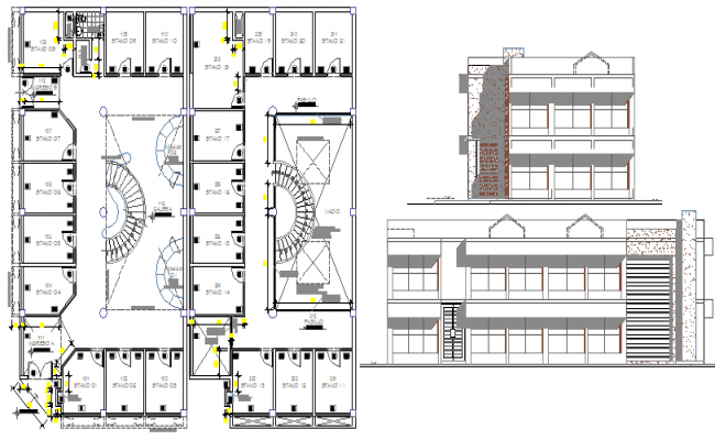 Two flooring shopping center elevation and floor plan details dwg file