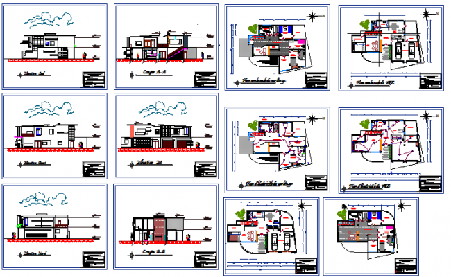 Two flooring villa architecture project details dwg file
