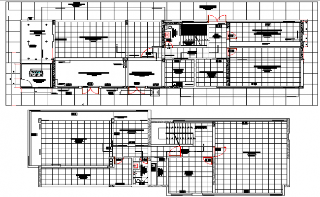 Two floors layout plan details of office building dwg file