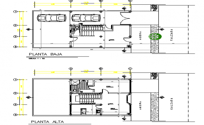 Two-level commercial store floor plan layout details dwg file
