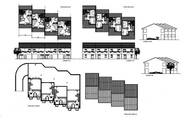Two-level hotel elevation, section, floor plan and auto-cad details dwg file