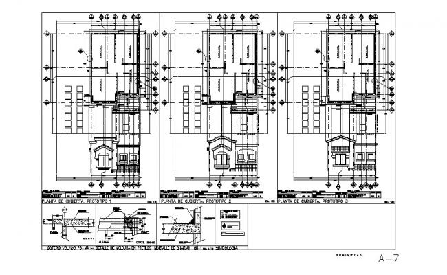 Two-level house elevation, section, floor plan and cad drawing details dwg file