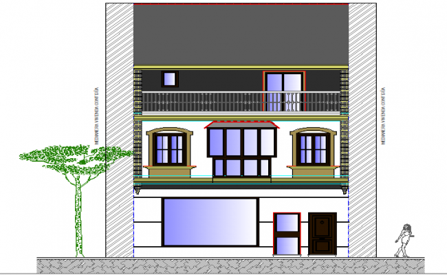 Two level house main elevation view dwg file