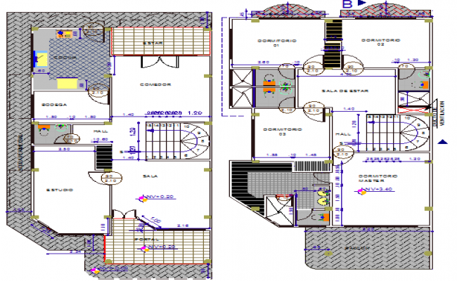 Two level housing floor layout plan details dwg file