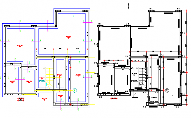 Two level housing floor structure details dwg file