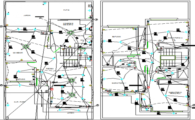 Two level housing wiring plan diagram details dwg file