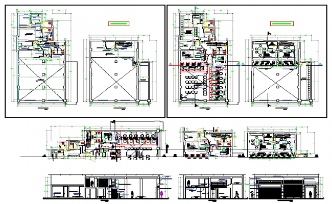 Two level municipal office building architecture project dwg file