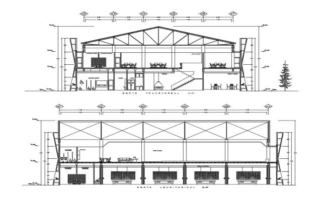 Two-level office building facade and back section and auto-cad details dwg file