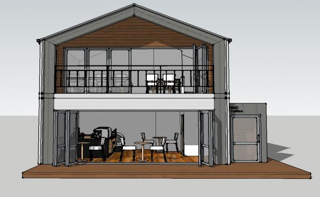Two-level one family house 3d model cad drawing details skp file