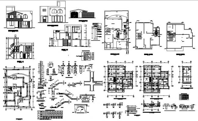 Two-level residential one family house detailed architecture project dwg file
