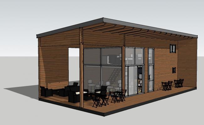 Two-level restaurant building 3d model cad drawing details