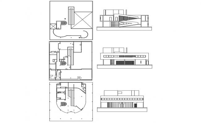 Two level villa all sided elevation and cover plan details dwg file