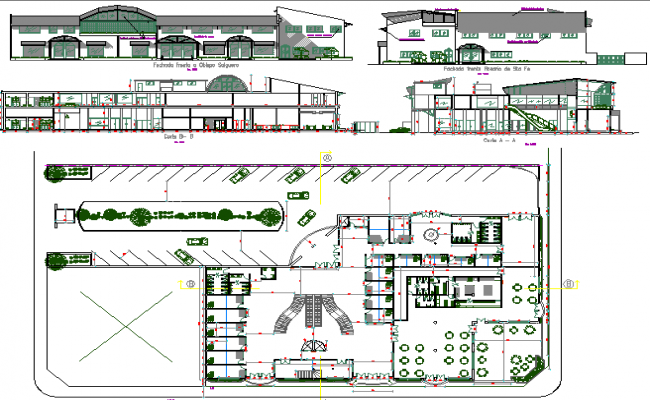 Two-story corporate building auto-cad details dwg file