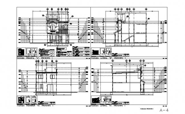 Two-story house elevation and constructive sectional details dwg file