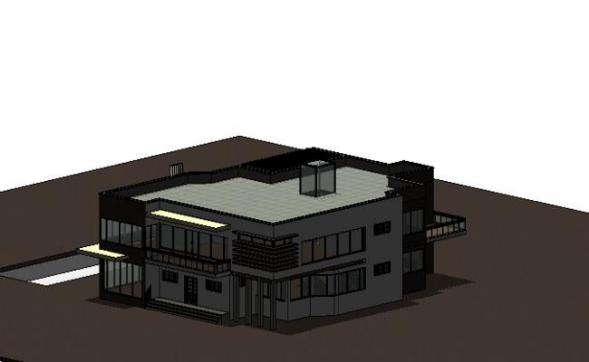 Two story residential modern bungalow 3d drawing details rvt file