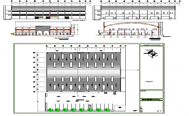 Two-story super market architecture project details dwg file