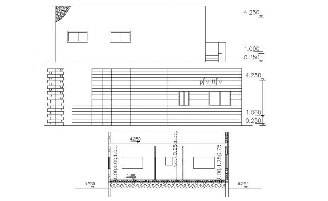 Two Elevations And Section of House Design AutoCAD File