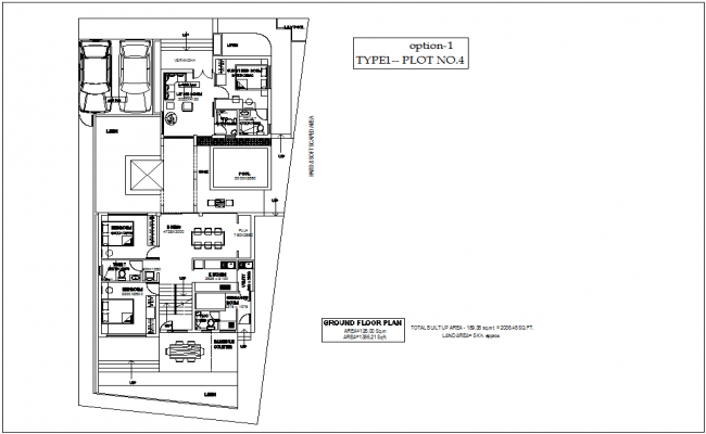 Type 1 plot no. 4 ground floor plan of bungalows with architecture view dwg file