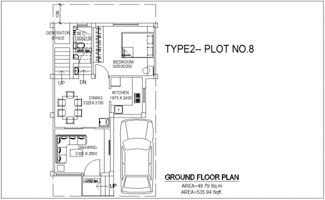Type 2 plot no.8 with area view of ground floor of bungalows with architecture view dwg file