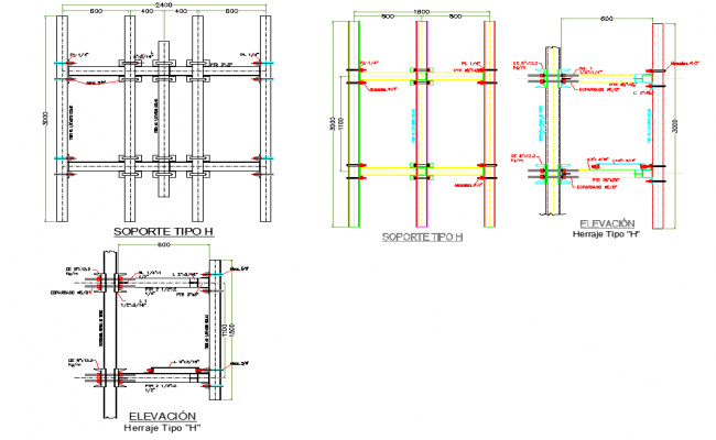Type support scaffolding elevation detail dwg file
