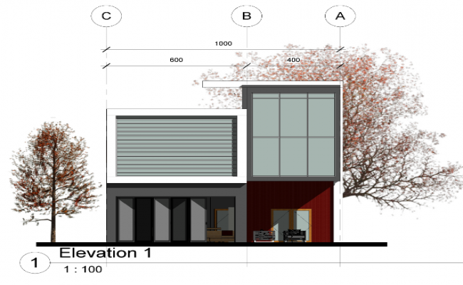 Type villa elevation detail dwg file