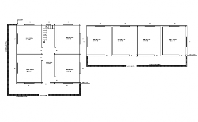 Types of construction Bed room drawings