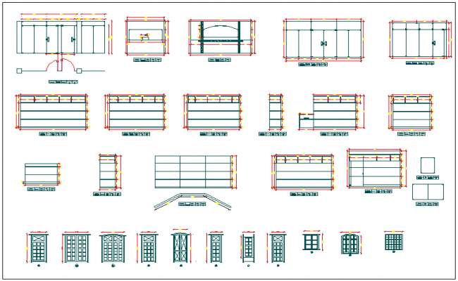 Types of door elevation and section dwg file