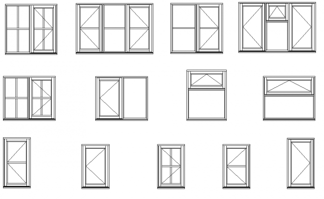 Types of window elevation  dwg file