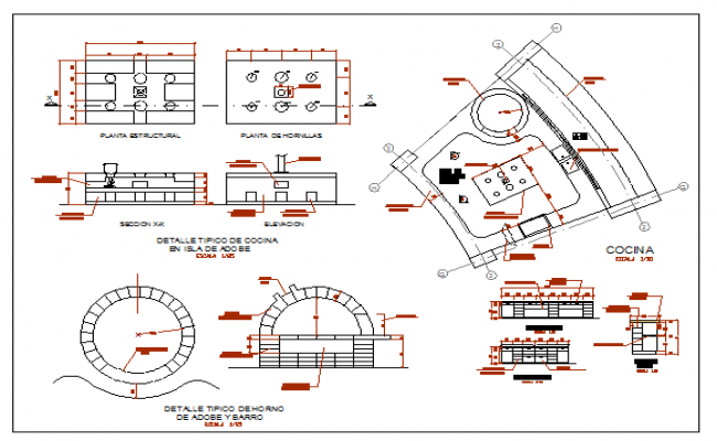 Typical clay kitchen and oven details dwg file